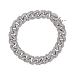 Diamond Cuban Link Bracelet 7.60 Carat 14 Karat White Gold