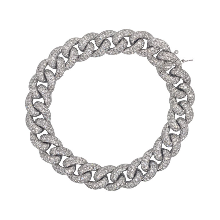 Diamond Cuban Link Bracelet 7.60 Carat 14 Karat White Gold For Sale