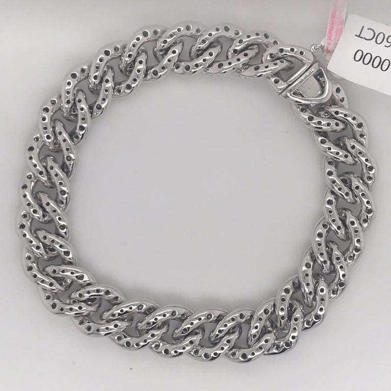 Contemporary Diamond Cuban Link Bracelet 7.60 Carat 14 Karat White Gold For Sale