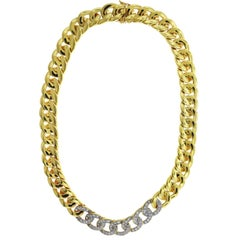 Diamond Cuban Link Necklace Yellow and White Gold