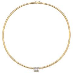 Diamond Cube 18 Karat Gold Omega Style Choker Necklace