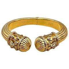 Diamond Cuff Bangle Bracelet 18 Karat Yellow Gold 59 Gram