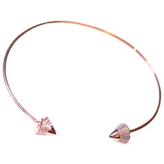 Diamond Cuff Bracelet 14 Karat Yellow Gold .35 Carat Total Weight Diamonds