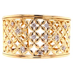 Diamond Cuff Bracelet 14 Karat Yellow Gold Lattice Open Design Bezel Set