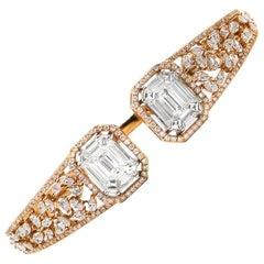 Diamond Cuff Bracelet 5.50 Carat F/VS 18 Karat Gold