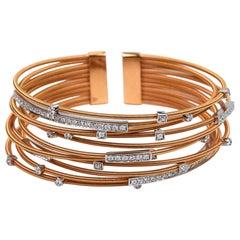 Diamond Cuff Bracelet Set in Rose Gold