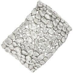 Diamond Cuff Platinum Bracelet with Over 100 Carat of Rose Cut Diamonds