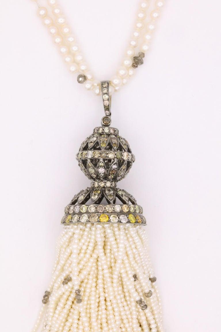 Contemporary Diamond Cultural Pearl Tassel Necklace 12.50 Carat For Sale