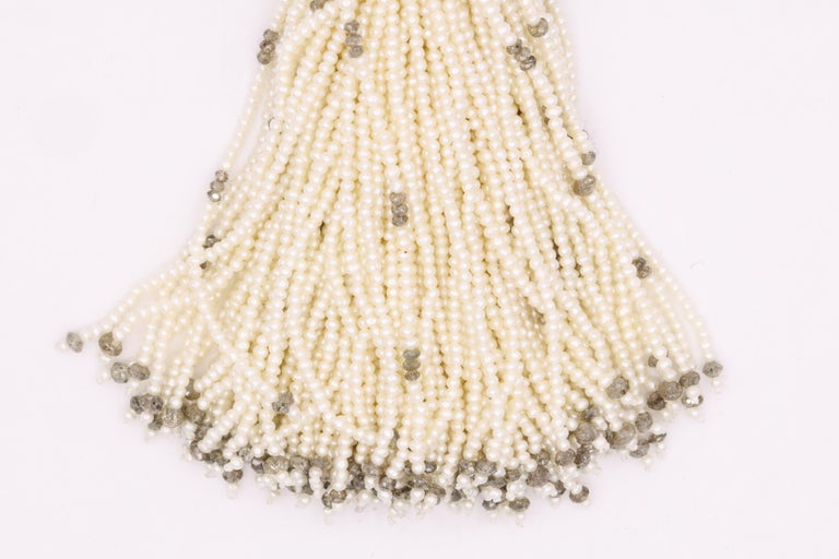Diamond Cultural Pearl Tassel Necklace 12.50 Carat In New Condition For Sale In New York, NY