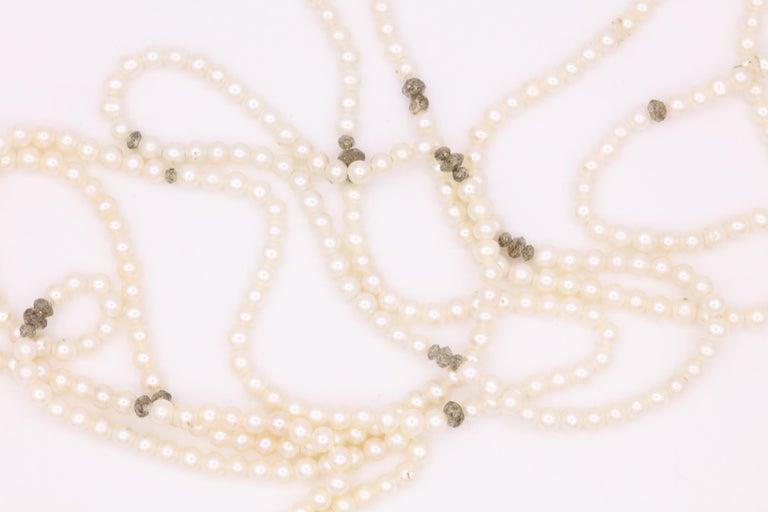 Women's Diamond Cultural Pearl Tassel Necklace 12.50 Carat For Sale