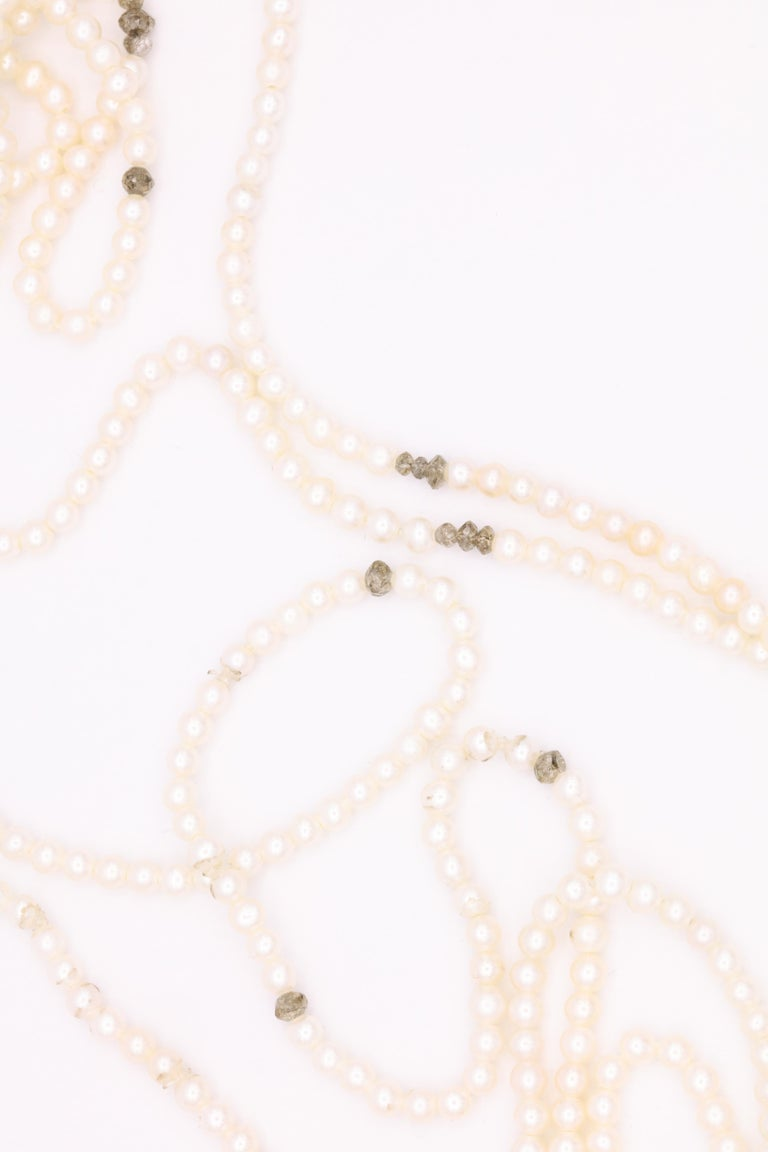 Diamond Cultural Pearl Tassel Necklace 12.50 Carat For Sale 1