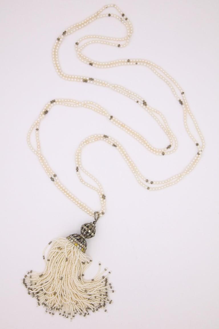 Diamond Cultural Pearl Tassel Necklace 12.50 Carat For Sale 2