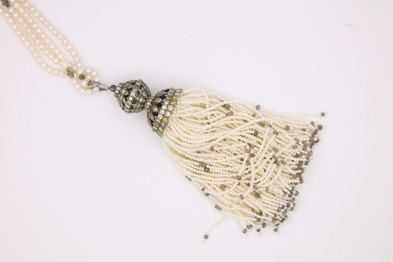Diamond Cultural Pearl Tassel Necklace 12.50 Carat For Sale 3