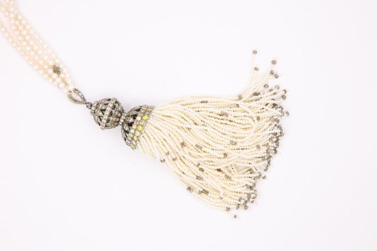 Diamond Cultural Pearl Tassel Necklace 12.50 Carat For Sale 4