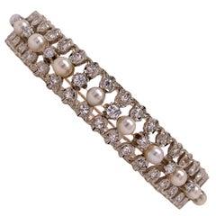 Diamond Cultured Pearl 14 Karat Yellow Gold Vintage Hinged Bangle Bracelet