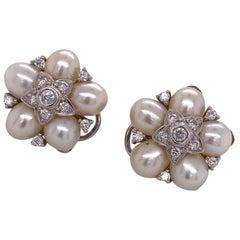 Diamond Cultured Pearl 18 Karat White Gold Estate Earrings Lever Backs