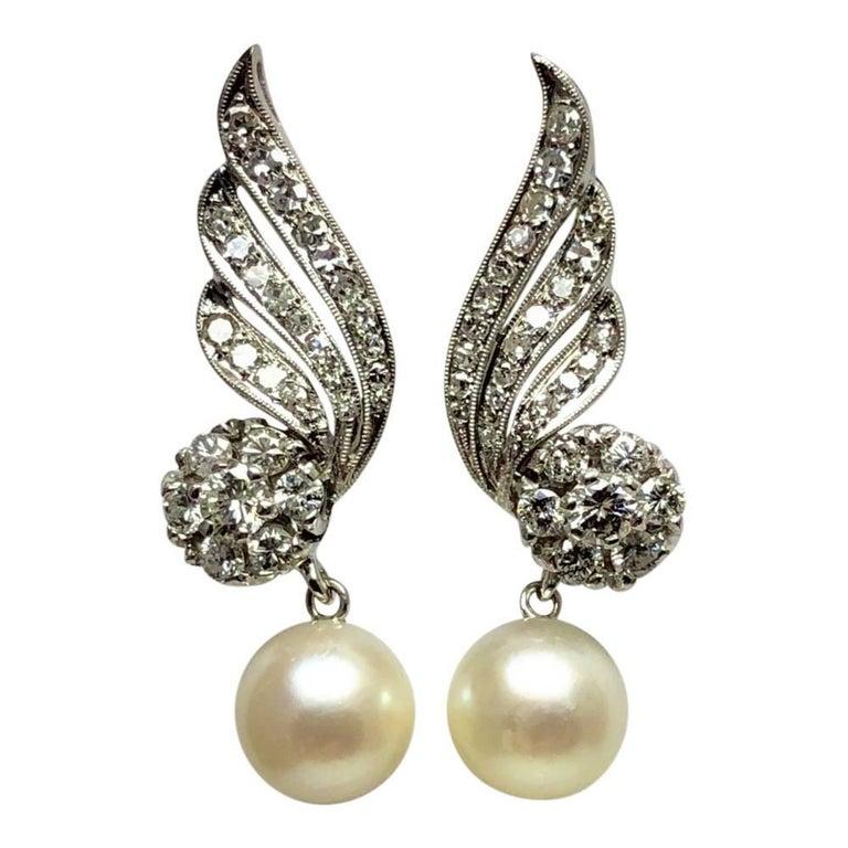 Diamond Cultured Pearl 18 Carat Gold Earrings