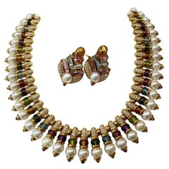 Bulgari Diamond Cultured Pearls Multi-Gem 18 Karat Yellow Gold Set
