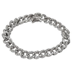 Diamond Curb-link Bracelet in 18k White Gold 6.80 CTW