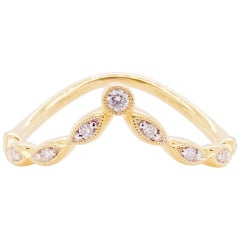 Diamond Curved Ring, 14 Karat Gold Curved Marquise Station Band, LR51842Y45JJ