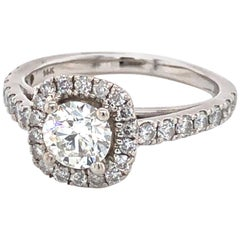 Diamond Cushion Halo Style White Gold Engagement Ring