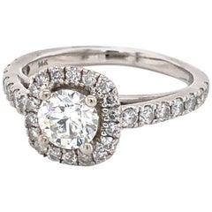 Diamond Cushion Halo Style White Gold Engagement Ring