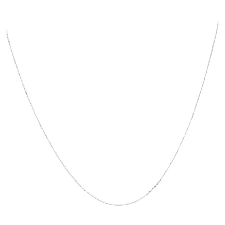 Diamond Cut Cable Chain Necklace, 14 Karat White Gold Italy Women's For Sale