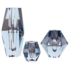 """Diamond"" Cut Crystal Vases by Strömbergshyttan, Sweden, Set of 3"