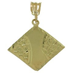 Diamond-Cut Solid Yellow Gold Rhombus-Shape Pendant