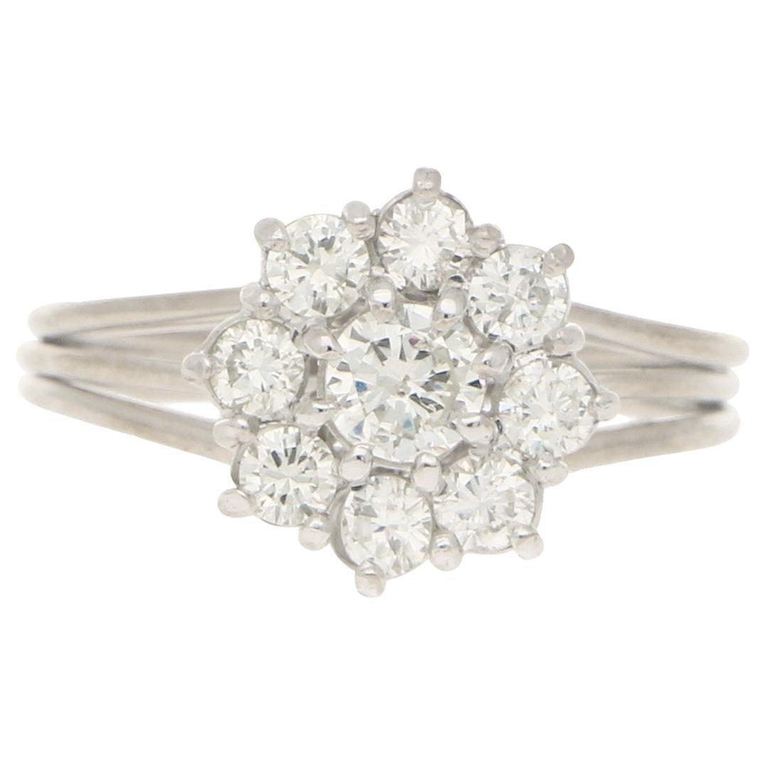 Diamond Daisy Cluster Engagement Ring Set in 18 Karat White Gold