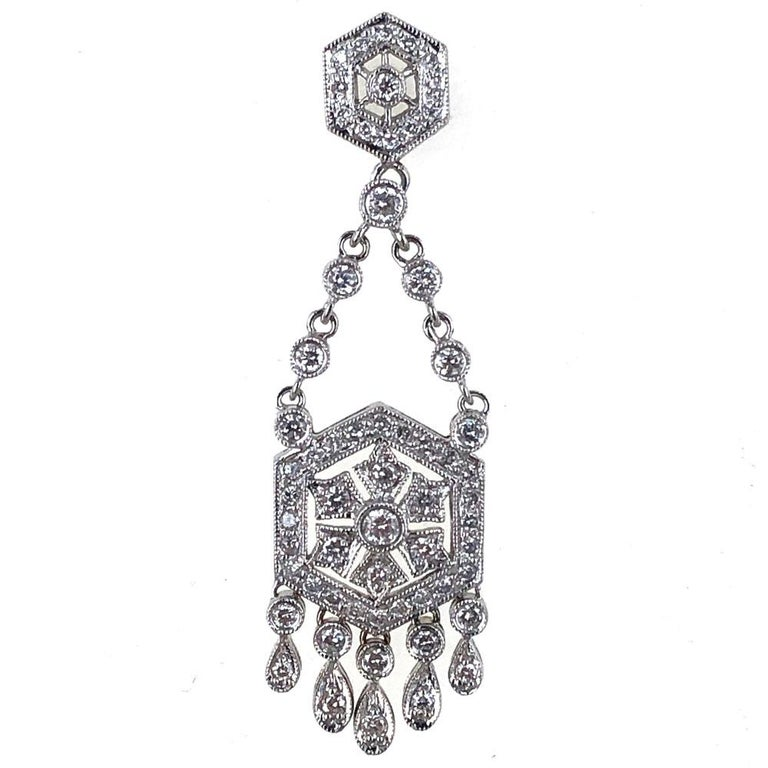 Round Cut Diamond Dangle Chandelier 18 Karat White Gold Earrings For Sale