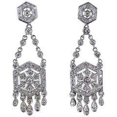 Diamond Dangle Chandelier 18 Karat White Gold Earrings