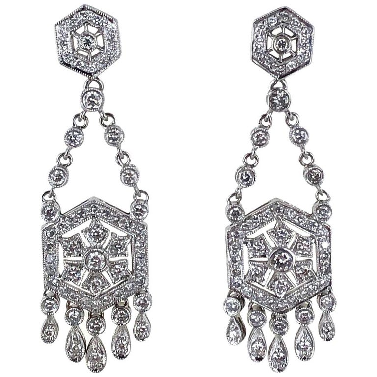 Diamond Dangle Chandelier 18 Karat White Gold Earrings For Sale