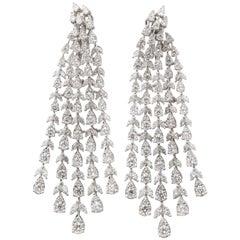 Diamond Dangle Chandelier Front Back Earrings