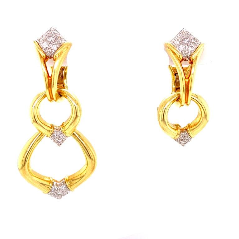 Modern Diamond Dangle Detachable Drop Earrings 18 Karat Yellow Gold For Sale