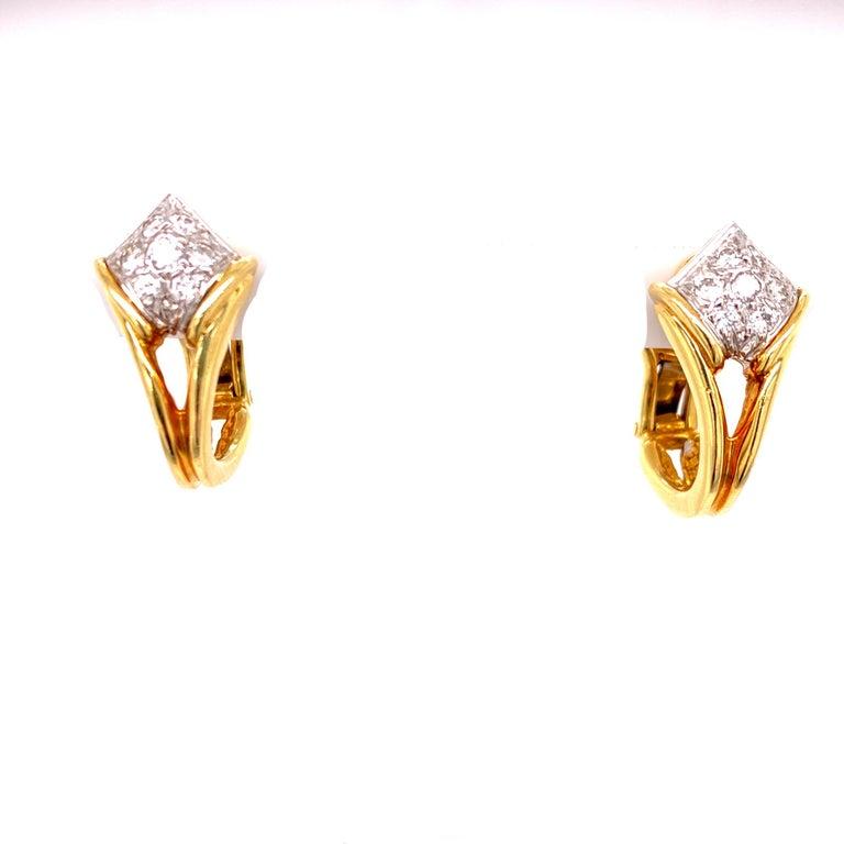 Diamond Dangle Detachable Drop Earrings 18 Karat Yellow Gold In Excellent Condition For Sale In Boca Raton, FL
