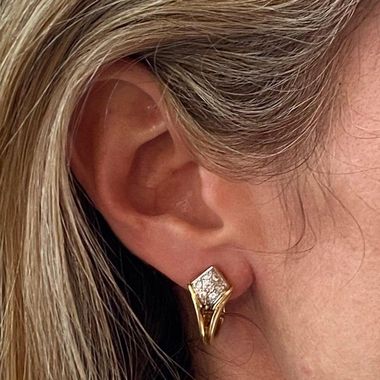 Women's Diamond Dangle Detachable Drop Earrings 18 Karat Yellow Gold For Sale