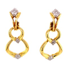 Diamond Dangle Detachable Drop Earrings 18 Karat Yellow Gold