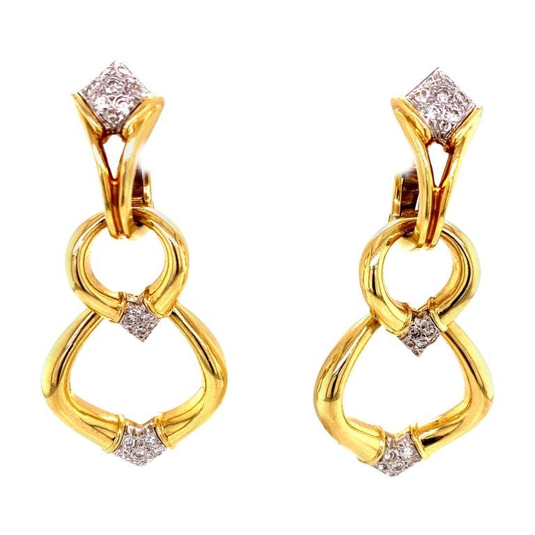 Diamond Dangle Detachable Drop Earrings 18 Karat Yellow Gold For Sale