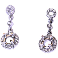 Diamond Dangle Drop Earrings 14 Karat White Gold