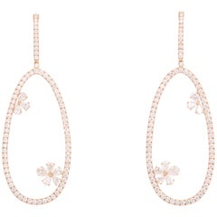 Diamond Dangle Earring with Flowers Rose Gold