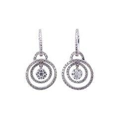 Diamond Dangle Earrings 18 Karat White Gold