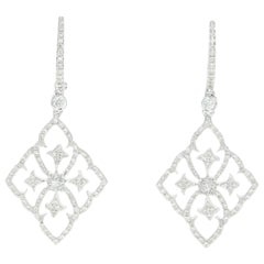 Diamond Dangle Earrings, 18 Karat White Gold Pierced Round Cut .55 Carat