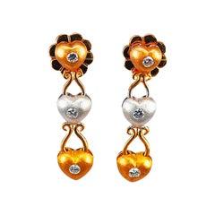Diamond Dangle Earrings 18 Karat Yellow Gold