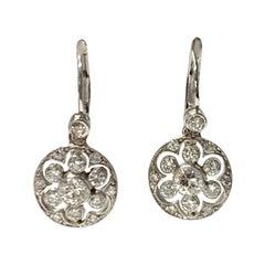 Diamond Dangle Earrings in 18k White Gold