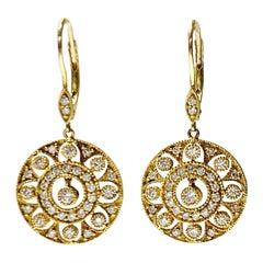 Diamond Dangle Earrings in Yellow Gold