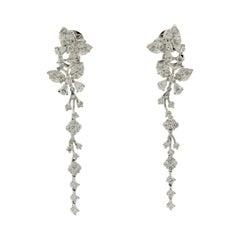 Diamond Dangle Gold Butterfly Floral Earrings