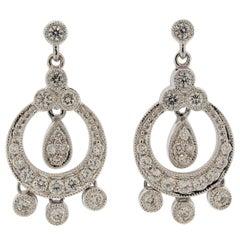 Diamond Dangle Gold Drop Earrings