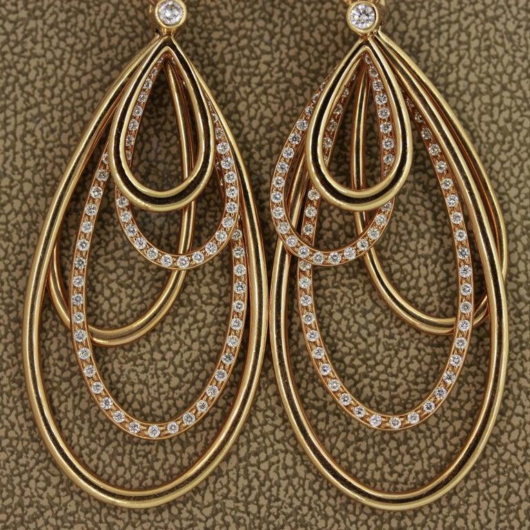 Women's Diamond Dangle Gold Earrings For Sale