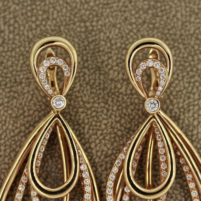 Diamond Dangle Gold Earrings For Sale 1